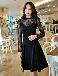 DABUWAWA Women's Holiday Going out Vintage Sexy Spring Fall Blouse Skirt SuitsSolid Crew Neck Long Sleeve Lace Inelastic