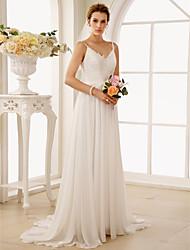 cheap -A-Line Princess Spaghetti Straps Sweep / Brush Train Chiffon Lace Wedding Dress with Appliques by LAN TING BRIDE®