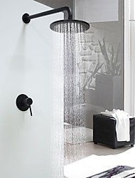 cheap -Modern/Contemporary Shower System Rain Shower Ceramic Valve Single Handle One Hole Black , Shower Faucet