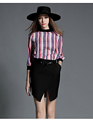 Women's Casual/Daily Work Simple Summer Shirt Skirt Suits,Lines / Waves Round Neck ¾ Sleeve