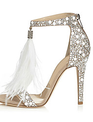 cheap -Women's Shoes PU(Polyurethane) Spring / Fall Comfort / Novelty Sandals Stiletto Heel Open Toe Rhinestone / Zipper / Tassel Almond / Wedding / Party & Evening / Party & Evening