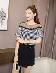 cheap -Women's Going out Casual Shirt,Check Round Neck Short Sleeves Polyester