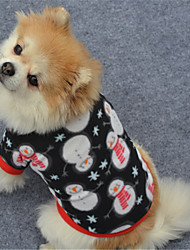 Dog Sweatshirt Dog Clothes Warm Christmas Christmas New Year's Geometic Black White/Black Costume For Pets