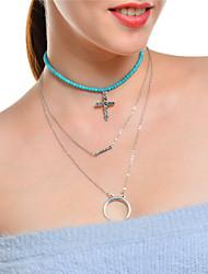 cheap -Women's Cross Moon Shape Multi Layer Cross Pendant Necklace Chain Necklace Turquoise Turquoise Alloy Pendant Necklace Chain Necklace