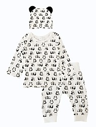 cheap -Baby Boys' Daily Indoor Outdoor Casual/Daily Animal Print Clothing Set, Cotton Winter Spring/Fall Animal Print Long Sleeves White