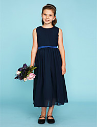 cheap -A-Line Princess Crew Neck Tea Length Chiffon Junior Bridesmaid Dress with Draping Sash / Ribbon by LAN TING BRIDE®