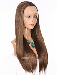 cheap -Women Synthetic Wig Lace Front Long Straight Ash Brown Highlighted/Balayage Hair Natural Hairline Natural Wigs Costume Wig