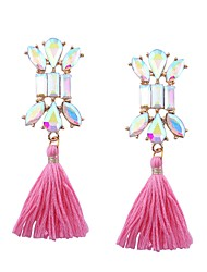 cheap -Women's Cross Rhinestone Stainless Steel Stud Earrings - Tassel / Statement Red / Pink / Royal Blue Earrings For Gift / Going out