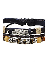 cheap -Men's Women's Leather Bracelet Fashion Adjustable Leather Alloy Round Feather Jewelry For Casual Going out