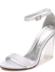 cheap -Women's Wedding Shoes Basic Pump T-Strap Ankle Strap Transparent Shoes Spring Summer Satin Wedding Party & Evening Dress Rhinestone