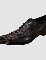 abordables -Hombre Zapatos Cuero de Napa Primavera Otoño Confort Innovador Oxfords Remache Con Cordón Para Boda Fiesta y Noche Negro