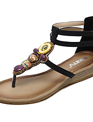 cheap -Women's Shoes Leatherette Spring Summer Comfort Sandals Wedge Heel Round Toe Beading For Casual Dress Almond Blue Black