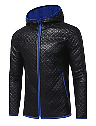 Men's Sports Plus Size Simple Casual Street chic Winter Fall Leather Jacket,Color Block Hooded Long Sleeve Regular PU