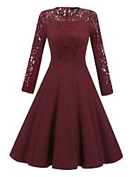 Balançoire Robe Femme Soirée simple,Couleur Pleine Mosaïque Col Arrondi Midi Manches Longues Coton Polyester Spandex Printemps Automne
