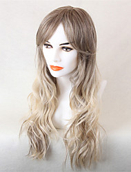 Women Human Hair Capless Wigs Medium Brown/Strawberry Blonde Honey Blonde Long Wavy Ombre Hair
