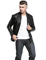 Men's Plus Size Casual/Daily Simple Winter Leather Jacket,Solid Stand Long Sleeve Regular PU Oversized