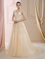 cheap -A-Line Princess V Neck Court Train Lace Tulle Wedding Dress with Beading Appliques by LAN TING BRIDE®
