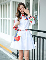 economico -Camicia Vestito Da donna-Casual Monocolore Ricamato Colletto Asimmetrico Manica a 3/4 Altro Primavera Autunno A vita medio-alta Media