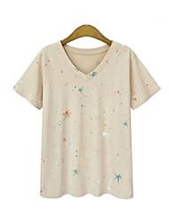 economico -T-shirt Da donna Casual Taglie forti Semplice Moda città Estate Autunno,A pois Rotonda Cotone Manica corta Medio spessore