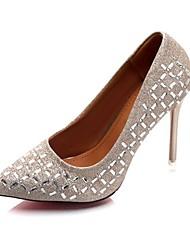Damen Schuhe PU Sommer Komfort High Heels Kitten Heel-Absatz Spitze Zehe Glitter Für Normal Kleid Gold Schwarz Silber