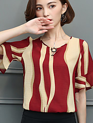 cheap -Women's Going out Classic & Timeless Blouse - Striped, Artistic Style Classic Style