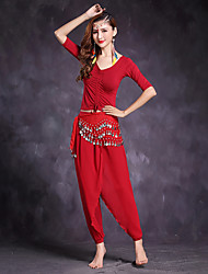 cheap -Belly Dance Outfits Women's Performance Modal Pleated Half Sleeve Natural Tops Pants Waist Accessory
