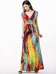 cheap -Women's Plus Size Boho Street chic Swing Dress,Print V Neck Maxi Sleeveless Polyester Summer High Rise Micro-elastic Medium