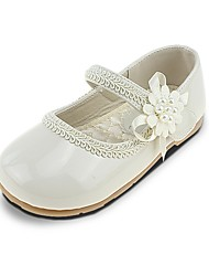 Girls' Shoes Leatherette Spring Fall Comfort Flower Girl Shoes Flats Applique Imitation Pearl Magic Tape For Wedding Dress Beige