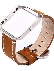 cheap -High Quality Handmade Retro Leather Band Metal Frame for Fitbit Blaze