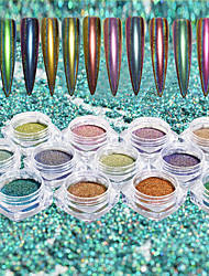 cheap -12Bottles/Set 0.15g/Bottle Nail Art Laser Chameleon Mirror Effect Peacock Glitter Powder