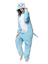 Kigurumi Pajamas Cat Leotard/Onesie Festival/Holiday Animal Sleepwear Halloween Blue Gray Animal Flannel Kigurumi For Unisex Halloween