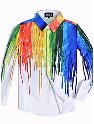 billige -Tynd Herre - Farveblok Regnbue Punk & gotisk Weekend Natklub Plusstørrelser Skjorte