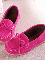 cheap -Girls' Shoes Suede Summer Fall Moccasin Comfort Loafers & Slip-Ons Bowknot for Casual Party & Evening Yellow Fuchsia Brown Blue Wine