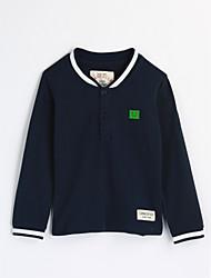 preiswerte -Jungen Bluse Solide Baumwolle Herbst Langarm Marineblau
