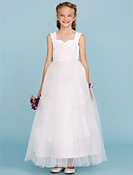 cheap -A-Line / Princess Ankle Length Flower Girl Dress - Satin / Tulle Sleeveless Strap with Pleats by LAN TING BRIDE®