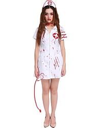 abordables -Enfermera Disfrace de Cosplay Navidad Halloween Carnaval Oktoberfest Año Nuevo Festival / Celebración Disfraces de Halloween Blanco Color