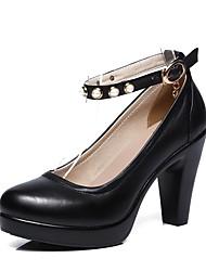 preiswerte -Damen Schuhe Leder Frühling Herbst Pumps High Heels Plattform Runde Zehe Imitationsperle Schnalle für Kleid Party & Festivität Schwarz