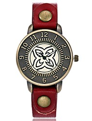 abordables -Mujer Reloj creativo único Reloj de Pulsera Reloj de Moda Chino Cuarzo Gran venta Piel Banda Encanto Vintage Casual Elegant Negro Rojo