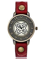 baratos -Mulheres Relógio de Moda Relógio de Pulso Único Criativo relógio Chinês Quartzo Couro Banda Vintage Pendente Casual Elegantes Preta