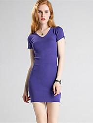 Недорогие -Для женщин На каждый день Простое Оболочка Трикотаж Платье Однотонный,V-образный вырез Выше колена С короткими рукавами Шерсть Полиэстер