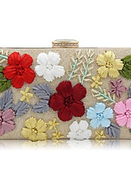 cheap -Women Bags Polyester Evening Bag Embroidery Flower(s) for Event/Party All Seasons Gold Black Silver