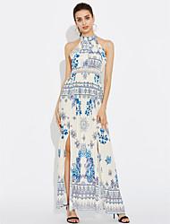cheap -Women's Going out Street chic Silk Cotton Loose Shift Dress Sequins Print Maxi Halter