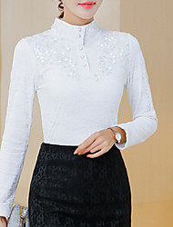 cheap -Women's Polyester Blouse - Solid, Lace Stand