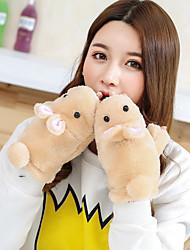 Недорогие -Жен. На каждый день Мультяшная тематика Зимние перчатки Сохраняет тепло Мода Милый До запястья Полупальцами Шерсть Хлопок, Однотонный