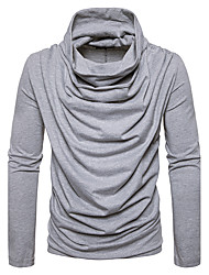 Men's Casual/Daily Street chic T-shirt,Solid Halter Long Sleeves Polyester
