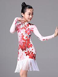Latin Dance Dresses Children's Ice Silk Tassel(s) Pattern/Print 1 Piece Long Sleeve Dress