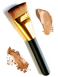 cheap Foundation Brushes-1Pc Soft Long Golden Handle Flat Foundation Makeup Brush Base Primer Loose Powder Blusher Contour Cosmetic Brush