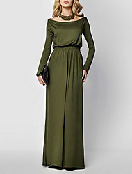 Women's Casual/Daily Sexy Loose Dress,Solid Boat Neck Maxi Long Sleeves Cotton Spring Fall Mid Rise Stretchy Medium