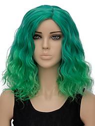 baratos -Mulher Perucas sintéticas Curto Ondas Leves Verde Cabelo Ombre Peruca de Halloween Peruca para Fantasia