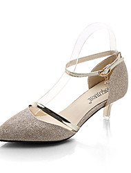 cheap -Women's Shoes PU Spring Summer Light Soles Heels Low Heel Pointed Toe Buckle For Casual Silver Gold